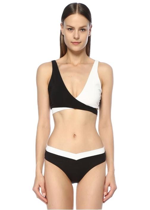 Siyah Beyaz V Yaka Çapraz Bağcıklı Bikini Üstü