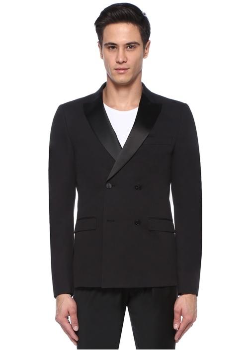 Siyah Kırlangıç Yaka Garni Detaylı Ceket