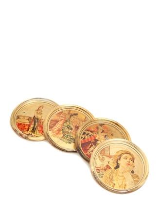 Gold Varaklı Baskılı 4lü Bardak Altı Seti Altın Rengi