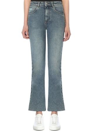 Yüksek Bel Bol Paça Crop Jean Pantolon