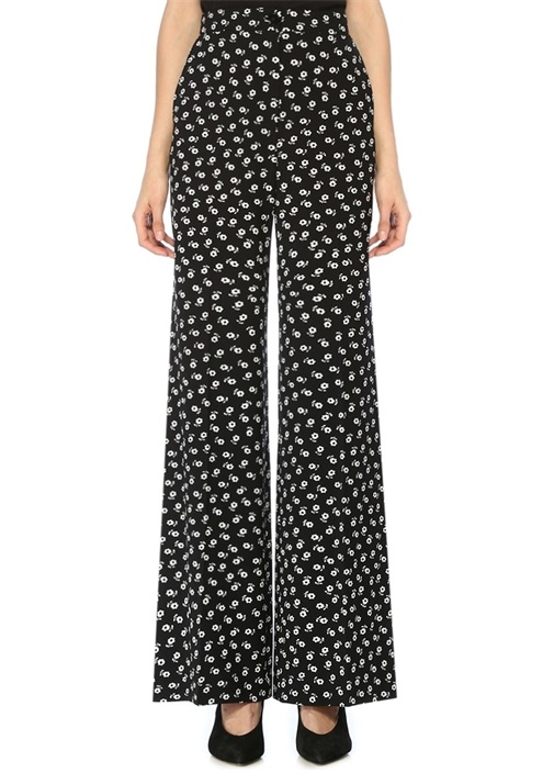 Siyah Yüksek Bel Çiçekli Bol Paça Krep Pantolon