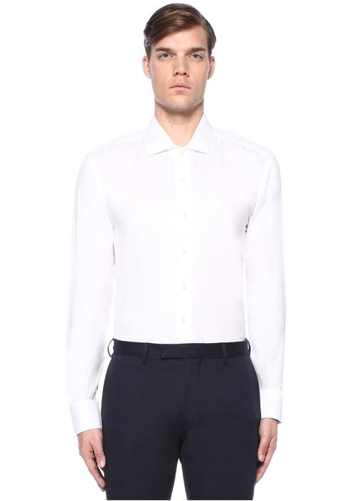 Beyaz Mikro Kazayağı Desenli Gömlek