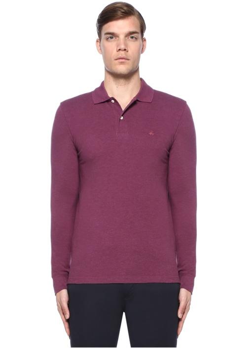 Slim Fit Bordo Logolu Polo Yaka Sweatshirt