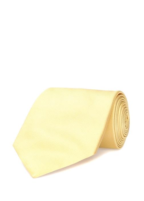 Sarı Çizgi Dokulu İpek Kravat