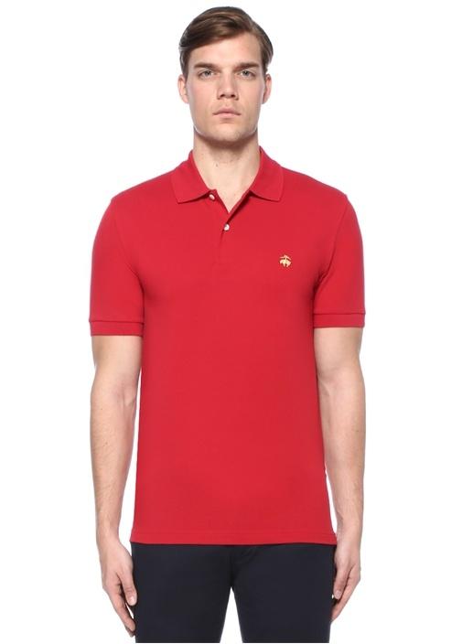 Slim Fit Kırmızı Logo Nakışlı Polo YakaT-shirt