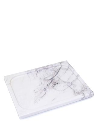 Beyaz Desenli Dikdörtgen Formlu Mermer Tepsi