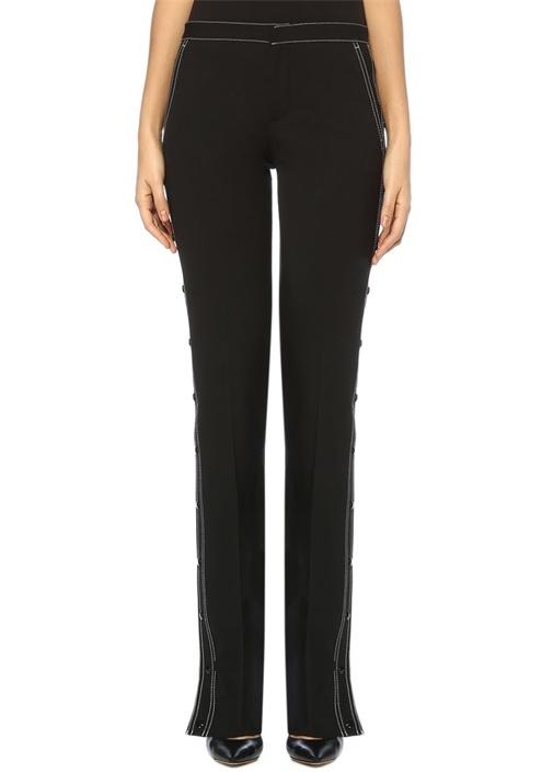 Siyah Yanları Çıtçıtlı Boru Paça Yün Pantolon