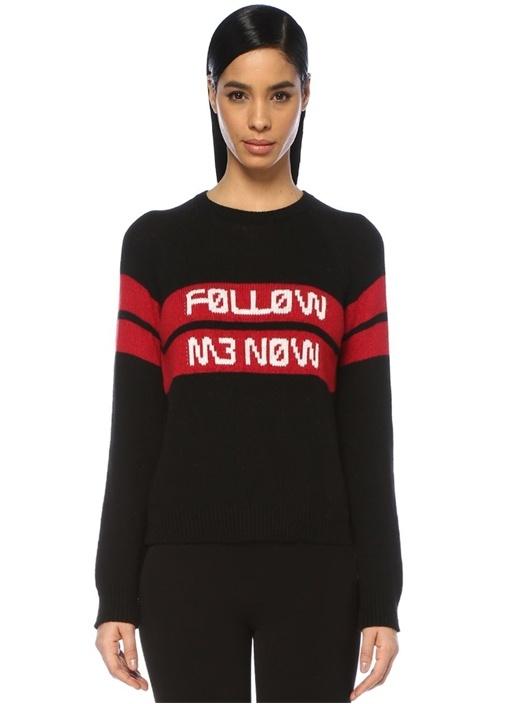 Follow Me Now Siyah Şeritli Reglan Kol Kazak
