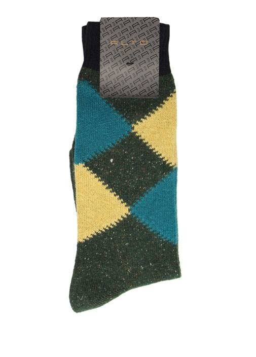 Haki Sarı Ekose Desenli Erkek Yün Çorap