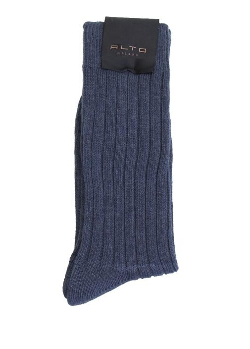 Lacivert Çizgi Dokulu Erkek Çorap