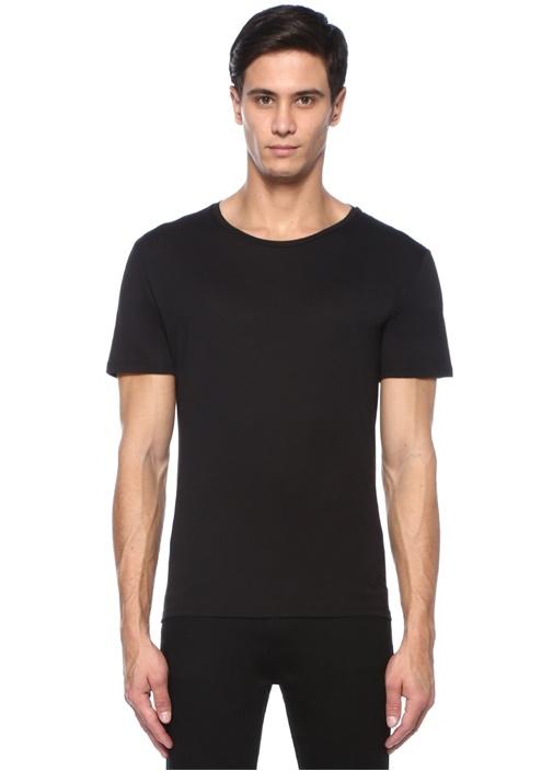 Siyah Roba Detaylı Basic T-shirt