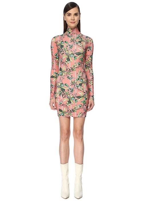 Pembe Dik Yaka Çiçekli Uzun Kol Mini Streç Elbise