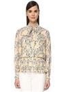 Bej Yakası Bağcıklı Çiçekli Pile Detaylı Bluz