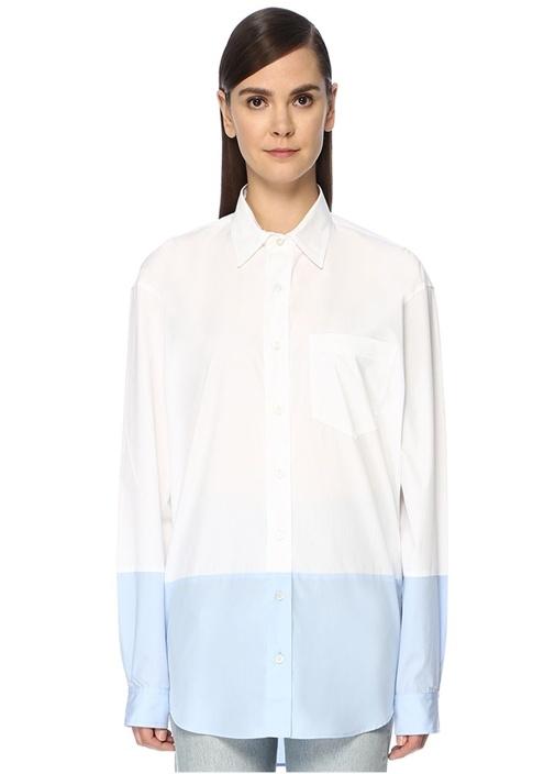 Mavi Beyaz Sivri Yaka Bloklu Oversize Gömlek