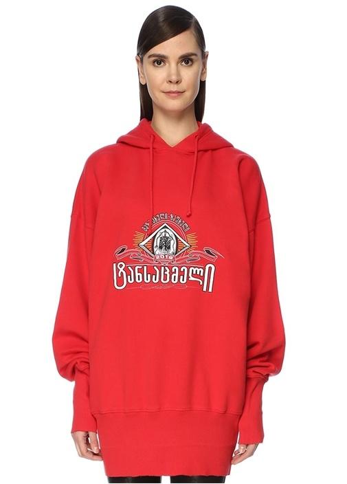 Kırmızı Kapüşonlu Nakışlı Oversize Sweatshirt