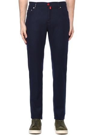 Lacivert Denim Görünümlü Dar Paça Yün Pantolon