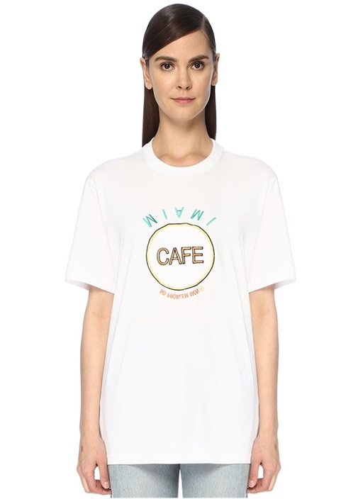 Beyaz Nakışlı Baskı Detaylı Oversize T-shirt