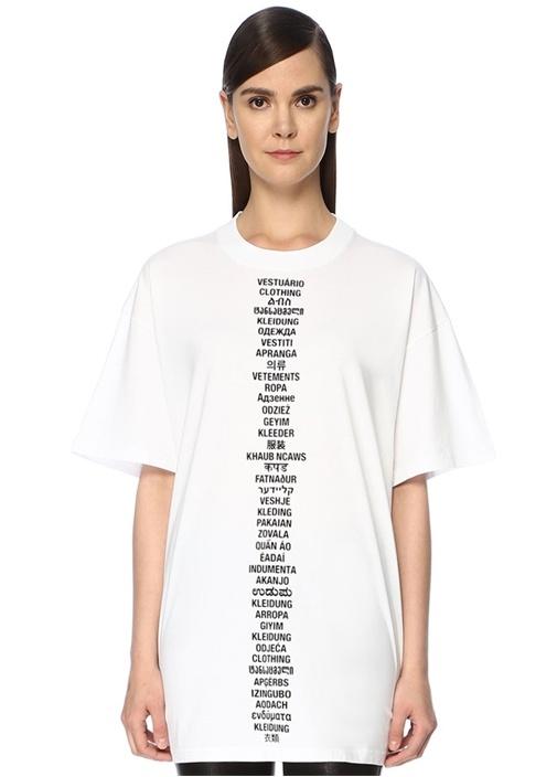 Beyaz Önü Ve Arkası Yazı Baskılı Oversize T-shirt