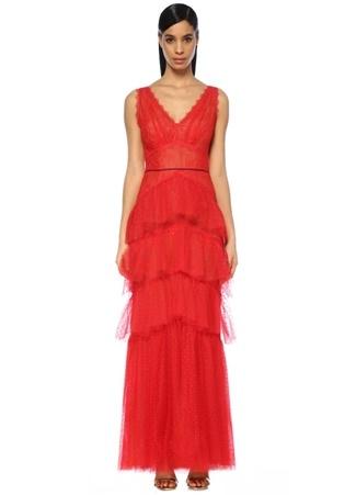 Marchesa Notte Kadın Kırmızı V Yaka Volanlı Maksi Dantel Abiye Elbise 6 US