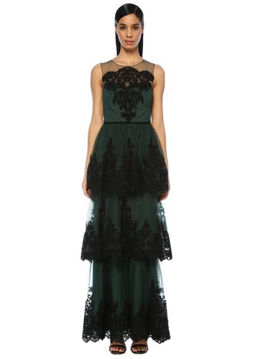 Yeşil Siyah Nakışlı Volanlı Maksi Tül Abiye Elbise