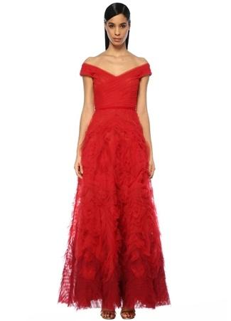 Marchesa Notte Kadın Kırmızı V Yaka Drapeli Maksi Tül Abiye Elbise 4 US female