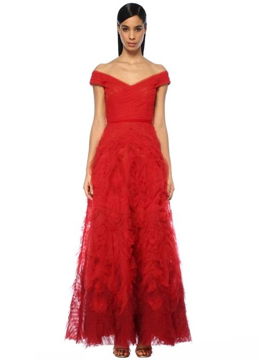 Kırmızı V Yaka Drapeli Maksi Tül Abiye Elbise