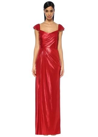 d662ada8a1d3b 4 female Kırmızı Marchesa Notte Kadın Metalik Drapeli Maksi Abiye Elbise US