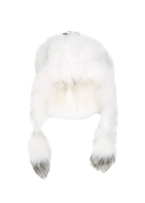 Beyaz Dokulu Shearling Detaylı Kadın Bere