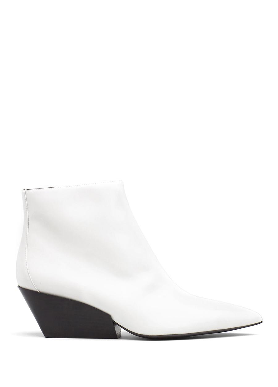 Calvin Klein Beyaz Topuklu Kadın Rugan Bot