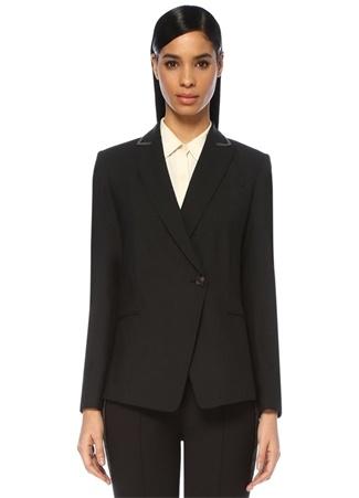 Antrasit Kırlangıç Yaka Zincir Şeritli Yün Ceket
