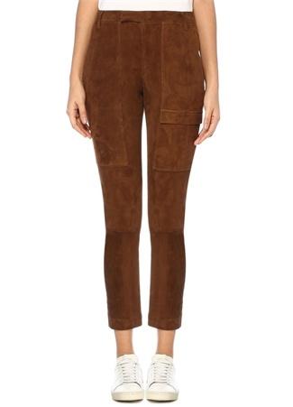 Kahverengi Normal Bel Dar Paça Süet Pantolon