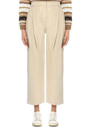 Brunello Cucinelli Kadın Bej Yüksek Bel Bol Kesim Pileli Keten Pantolon 40 I (IALY) Ürün Resmi