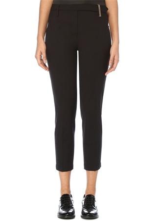 Siyah Beli Zincir Şerit Detaylı Yün Pantolon