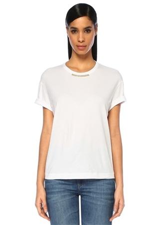 Beyaz Yakası Zincir Şerit Detaylı T-shirt