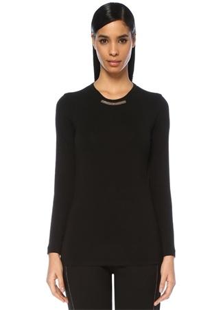 Siyah Yakası Zincir Şeritli Uzun Kol T-shirt