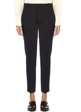 Lacivert Çizgili Normal Bel Boru Paça Yün Pantolon