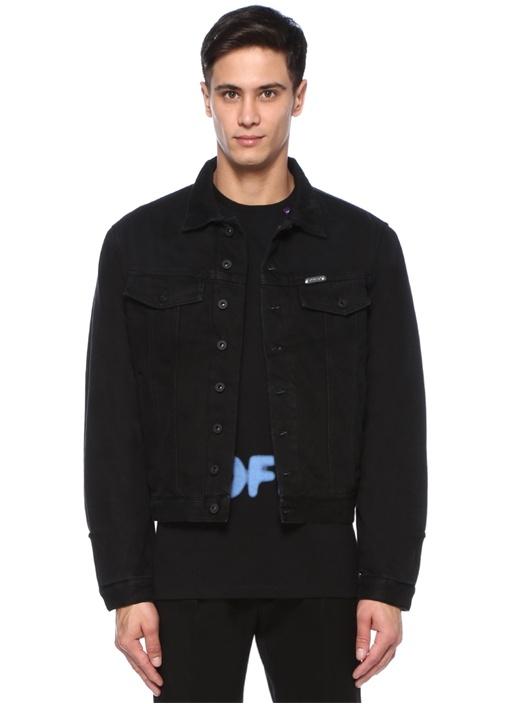 Siyah Polo Yaka Logo Baskılı Denim Ceket