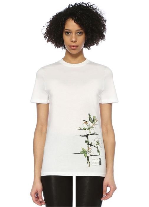 Beyaz Bisiklet Yaka Logolu Çiçek Baskılı T-shirt