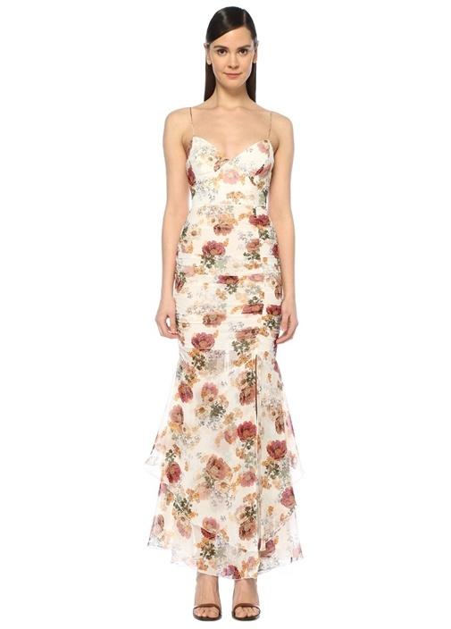 Beyaz İnce Askılı Çiçekli Maksi İpek Elbise