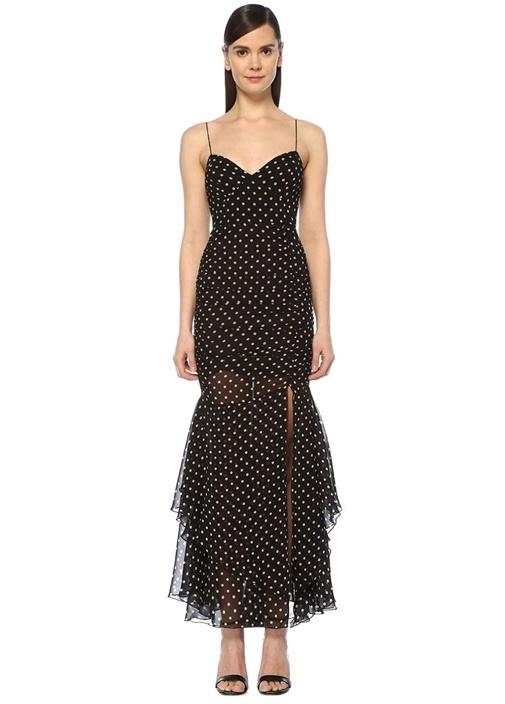 Siyah İnce Askılı Puanlı Drapeli Maksi İpek Elbise