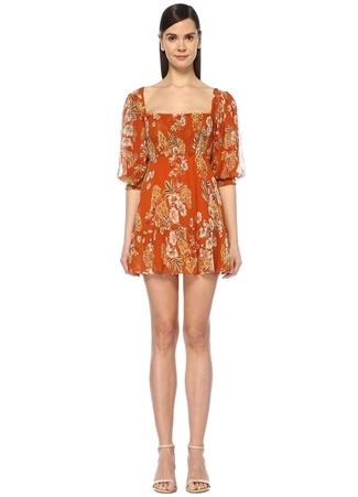 Nicholas Kadın Turuncu Kare Yaka Çiçekli Mini İpek Elbise 6 US