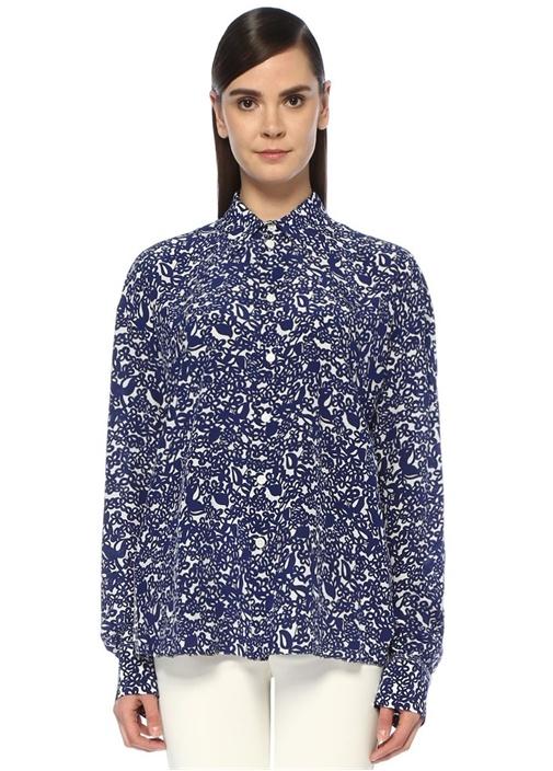 Mavi Beyaz Sivri Yaka Çiçek Desenli İpek Gömlek