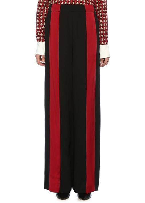 Siyah Kırmızı Şerit Detaylı Bol Paça Pantolon