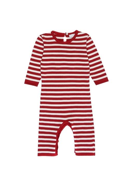Kırmızı Beyaz Kanat Patchli Unisex Bebek Tulum