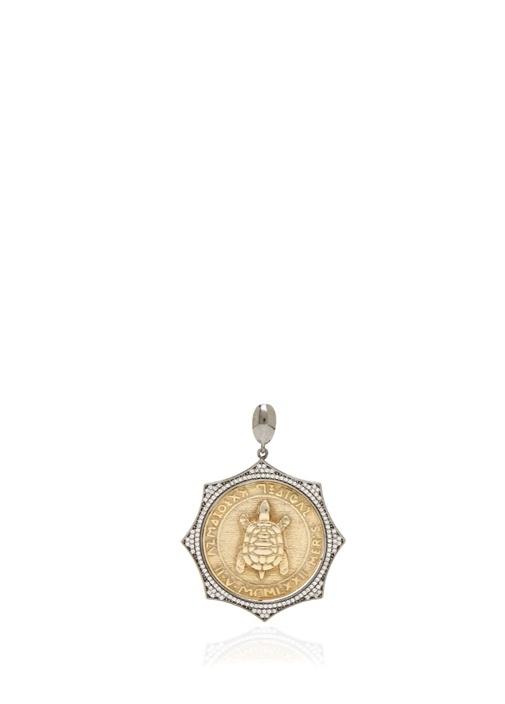 Silver Gold Aslanlı Işlemeli Kadın Gümüş Kolye Ucu