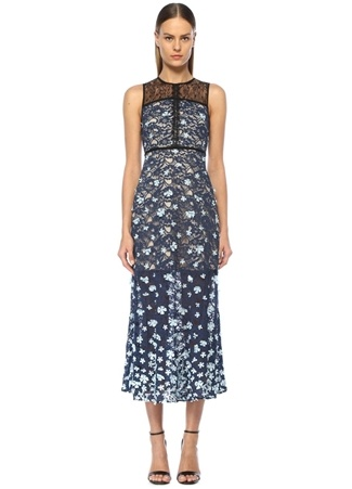 dbd67d9f0bf09 8 female Mavi Foxiedox Kadın Çiçek Aplikeli Kolsuz Midi Dantel Elbise US