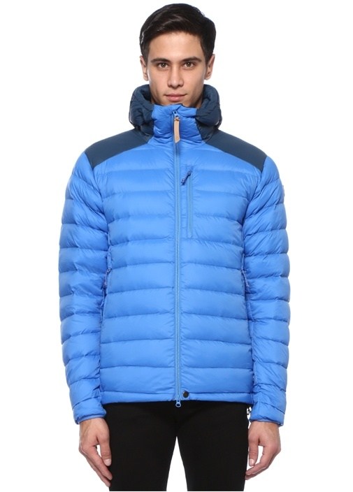 Mavi Lacivert Kapüşonlu Puff Mont