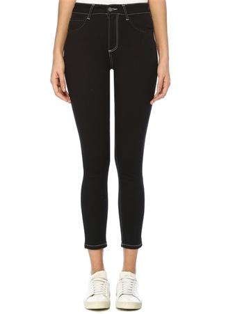 Siyah Yüksek Bel Dikişli Slim Fit Jean Pantolon