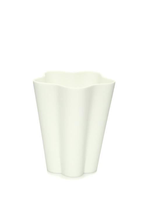 Iris Beyaz Kıvrımlı Seramik Vazo