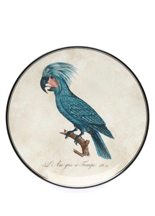 Beyaz Kuş Baskılı Porselen Dekoratif Tabak